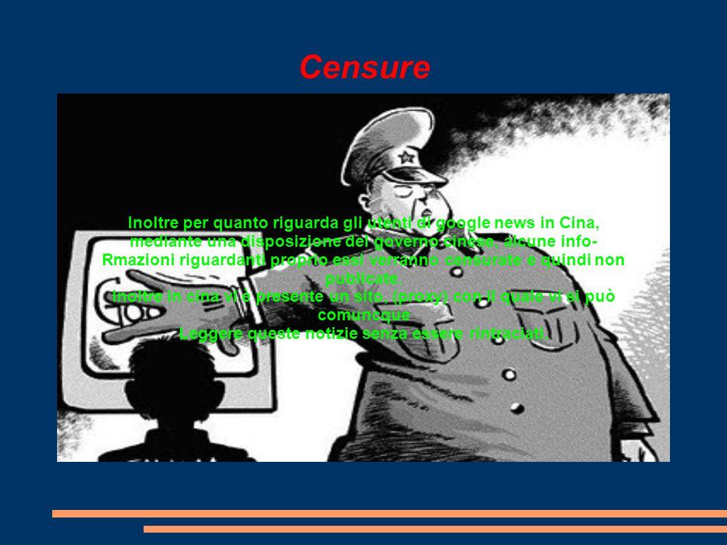 Censure Inoltre per quanto riguarda gli utenti di google news in Cina, mediante una disposizione del governo cinese, alcune info- Rmazioni riguardanti proprio essi verranno censurate e quindi non publicate.