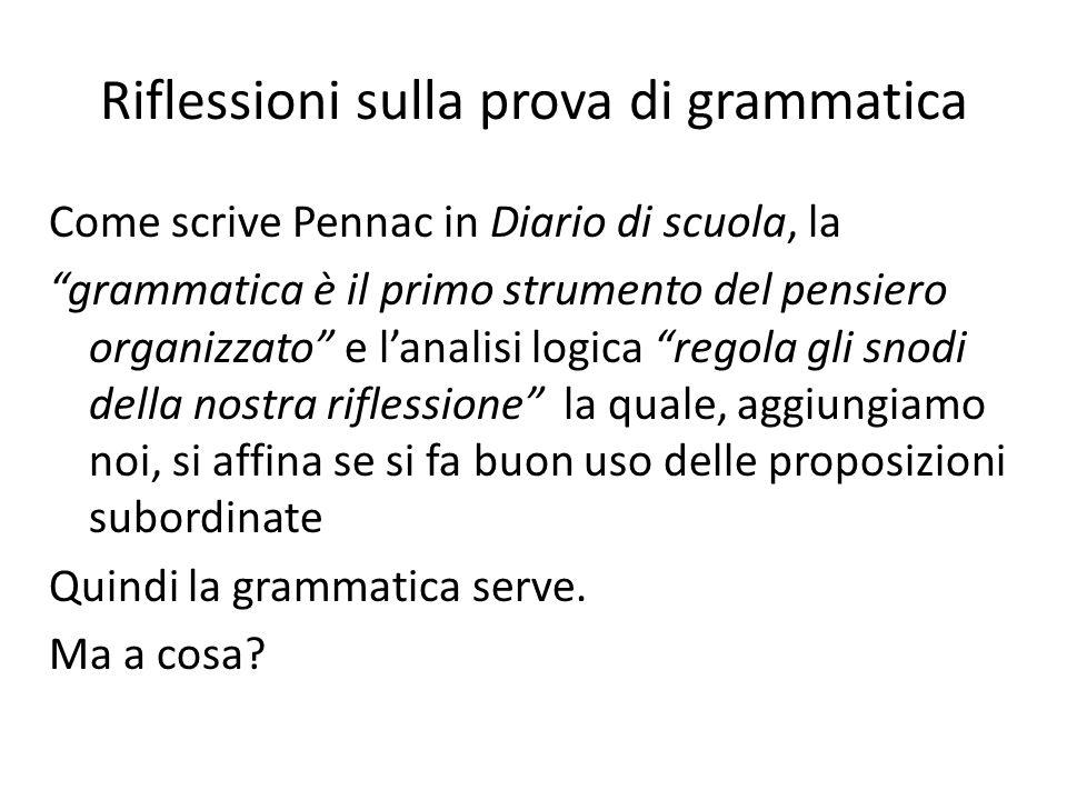 Riflessioni sulla prova di grammatica Come scrive Pennac in Diario di scuola, la grammatica è il primo strumento del pensiero organizzato e lanalisi l