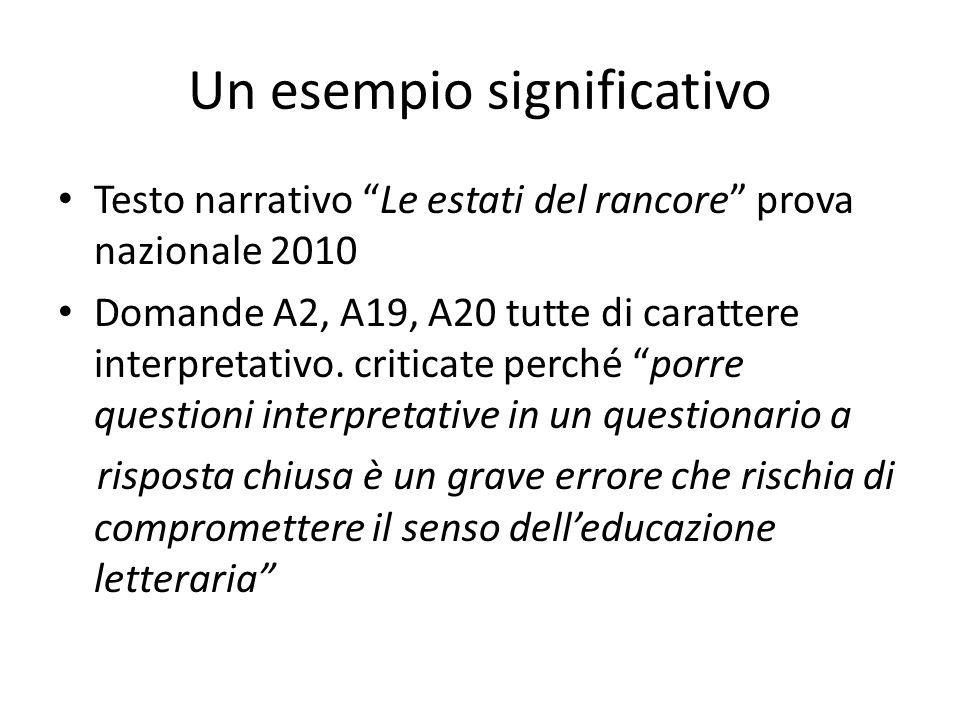 Un esempio significativo Testo narrativo Le estati del rancore prova nazionale 2010 Domande A2, A19, A20 tutte di carattere interpretativo. criticate