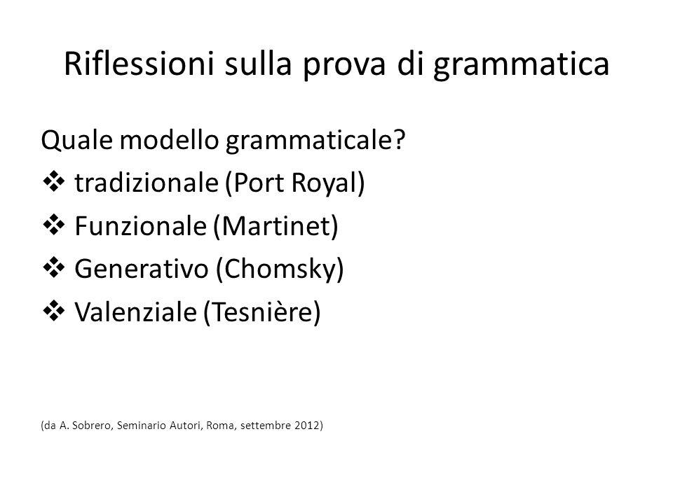 Riflessioni sulla prova di grammatica Quale modello grammaticale? tradizionale (Port Royal) Funzionale (Martinet) Generativo (Chomsky) Valenziale (Tes