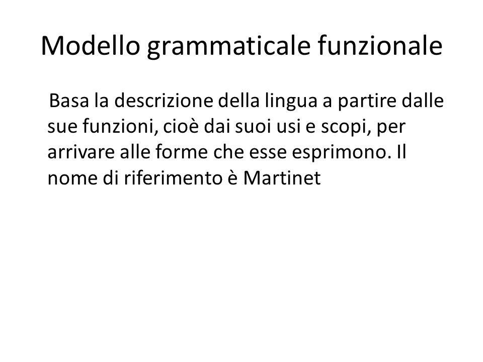 Modello grammaticale funzionale Basa la descrizione della lingua a partire dalle sue funzioni, cioè dai suoi usi e scopi, per arrivare alle forme che