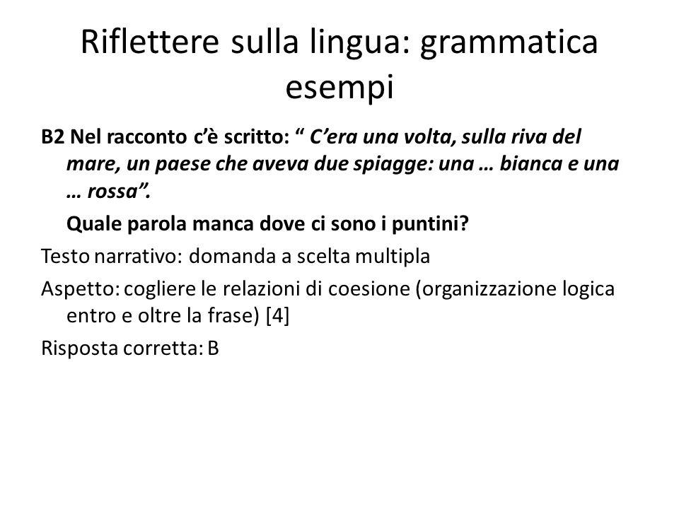 Riflettere sulla lingua: grammatica esempi B2 Nel racconto cè scritto: Cera una volta, sulla riva del mare, un paese che aveva due spiagge: una … bian