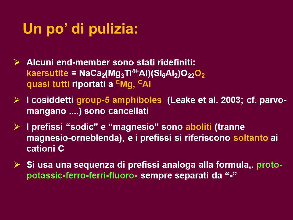 Alcuni end-member sono stati ridefiniti: kaersutite = NaCa 2 (Mg 3 Ti 4+ Al)(Si 6 Al 2 )O 22 O 2 quasi tutti riportati a C Mg, C Al I cosiddetti group