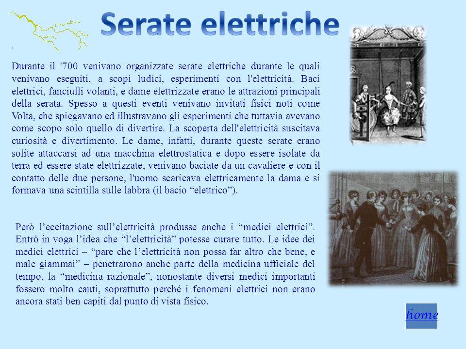 . Durante il '700 venivano organizzate serate elettriche durante le quali venivano eseguiti, a scopi ludici, esperimenti con l'elettricità. Baci elett