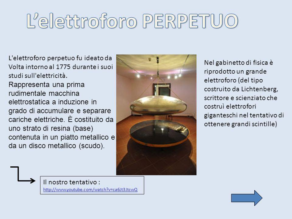 L'elettroforo perpetuo fu ideato da Volta intorno al 1775 durante i suoi studi sull'elettricità. Rappresenta una prima rudimentale macchina elettrosta