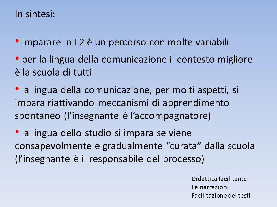 In sintesi: imparare in L2 è un percorso con molte variabili per la lingua della comunicazione il contesto migliore è la scuola di tutti la lingua del