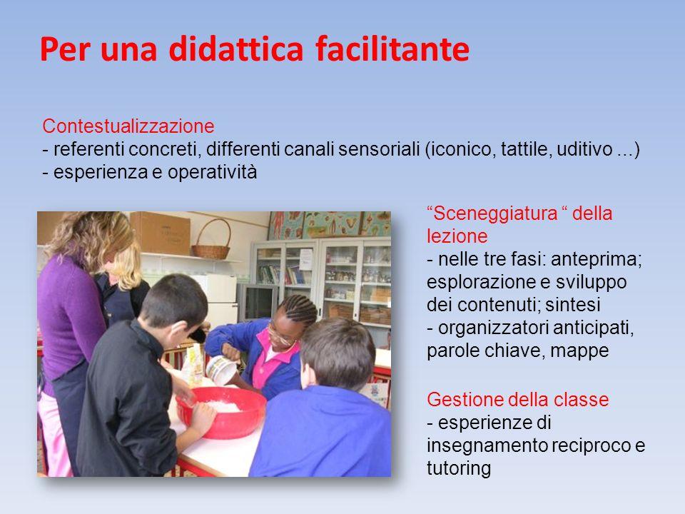 Per una didattica facilitante Gestione della classe - esperienze di insegnamento reciproco e tutoring Contestualizzazione - referenti concreti, differ