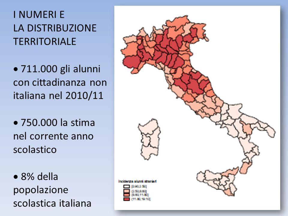 I NUMERI E LA DISTRIBUZIONE TERRITORIALE 711.000 gli alunni con cittadinanza non italiana nel 2010/11 750.000 la stima nel corrente anno scolastico 8%