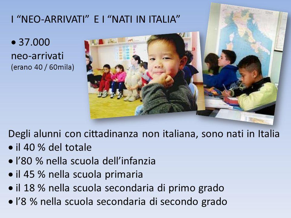 I NEO-ARRIVATI E I NATI IN ITALIA 37.000 neo-arrivati (erano 40 / 60mila) Degli alunni con cittadinanza non italiana, sono nati in Italia il 40 % del