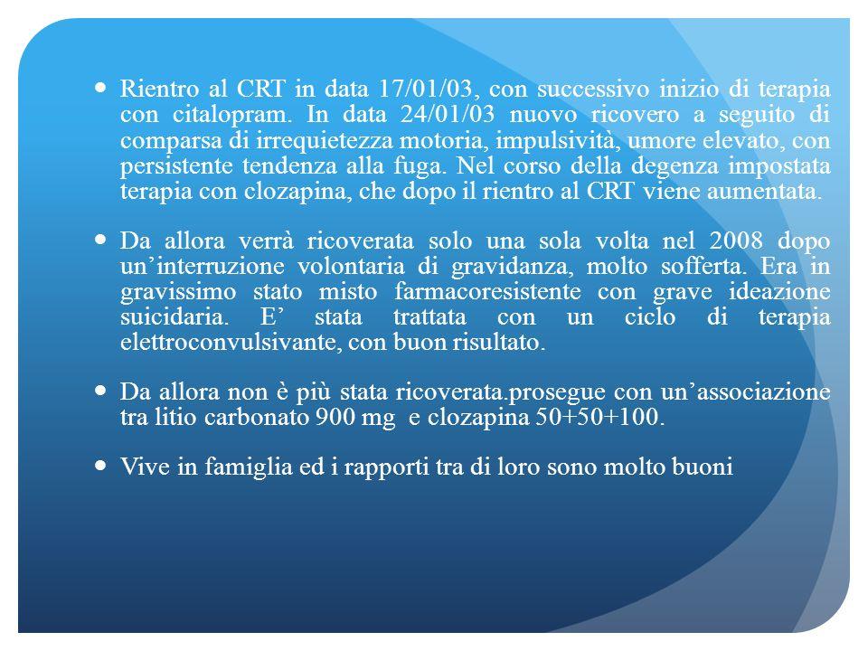 Alla dimissione viene trasferita presso una Comunità per minori di Reggio Emilia, dove rimane fino ad Ottobre 2002, quando si verifica un peggiorament