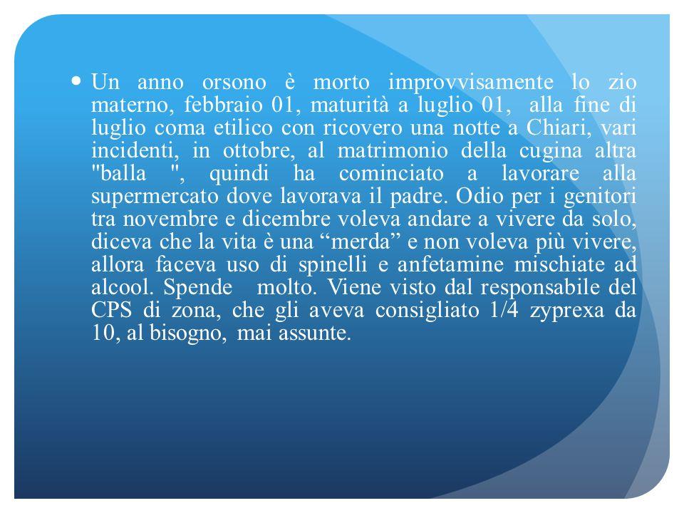 Vedo i genitori l11 mag 2002 diplomato istituto perito agroambientale a Bargnano, per 4 anni con ottimi voti, l'anno della maturità non ha mai studiat