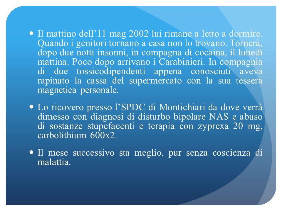 il 21/12/01 ha assunto molte cpr di zyprexa ed è stato in rianimazione a Chiari, quindi trasferito ad Iseo in SPDC, quindi a Leno in SPDC sino al 2/1/