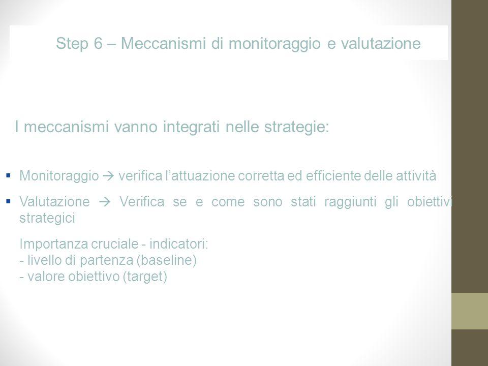 Step 6 – Meccanismi di monitoraggio e valutazione Monitoraggio verifica lattuazione corretta ed efficiente delle attività Valutazione Verifica se e come sono stati raggiunti gli obiettivi strategici Importanza cruciale - indicatori: - livello di partenza (baseline) - valore obiettivo (target) I meccanismi vanno integrati nelle strategie: