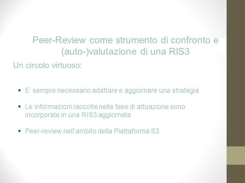 Peer-Review come strumento di confronto e (auto-)valutazione di una RIS3 E sempre necessario adattare e aggiornare una strategia Le informazioni raccolte nella fase di attuazione sono incorporate in una RIS3 aggiornata Peer-review nellambito della Piattaforma S3 Un circolo virtuoso:
