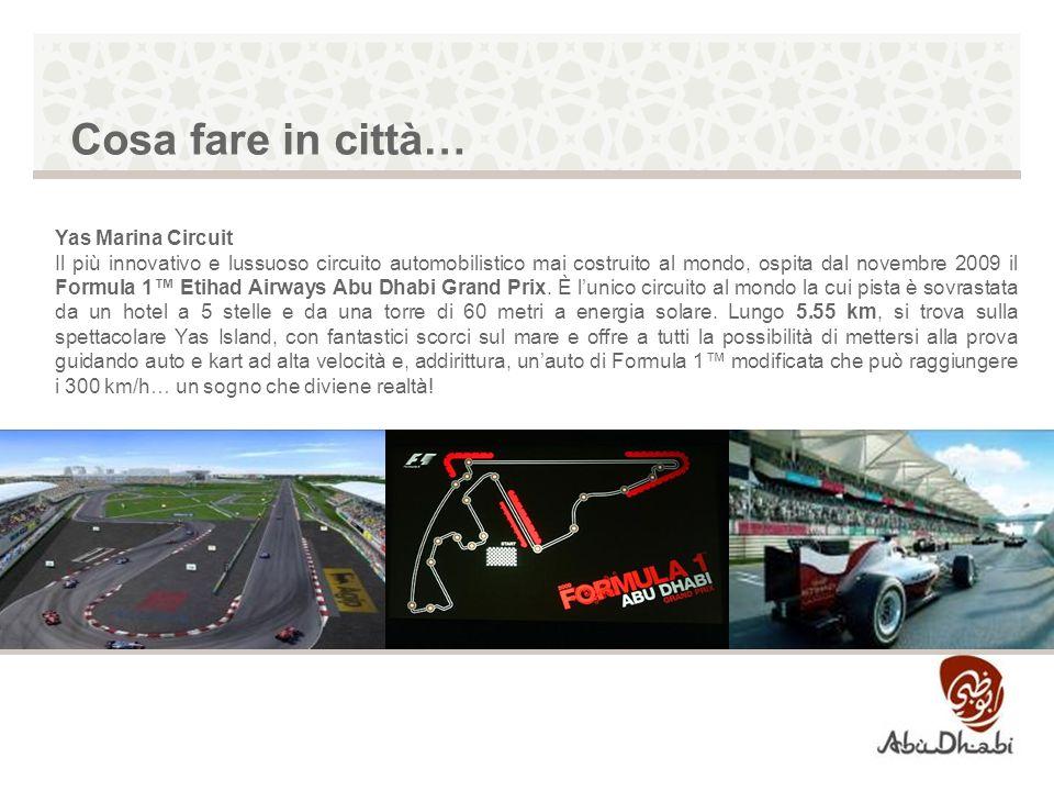 Yas Marina Circuit Il più innovativo e lussuoso circuito automobilistico mai costruito al mondo, ospita dal novembre 2009 il Formula 1 Etihad Airways