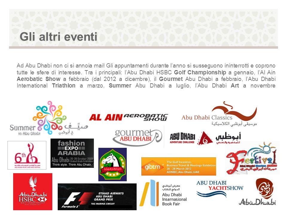 Gli altri eventi Ad Abu Dhabi non ci si annoia mai! Gli appuntamenti durante lanno si susseguono ininterrotti e coprono tutte le sfere di interesse. T