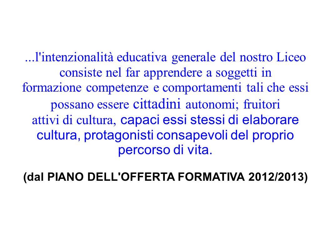 ...l'intenzionalità educativa generale del nostro Liceo consiste nel far apprendere a soggetti in formazione competenze e comportamenti tali che essi