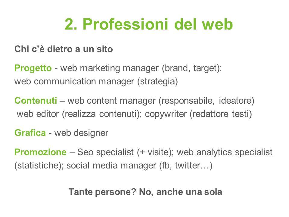 2. Professioni del web Chi cè dietro a un sito Progetto - web marketing manager (brand, target); web communication manager (strategia) Contenuti – web