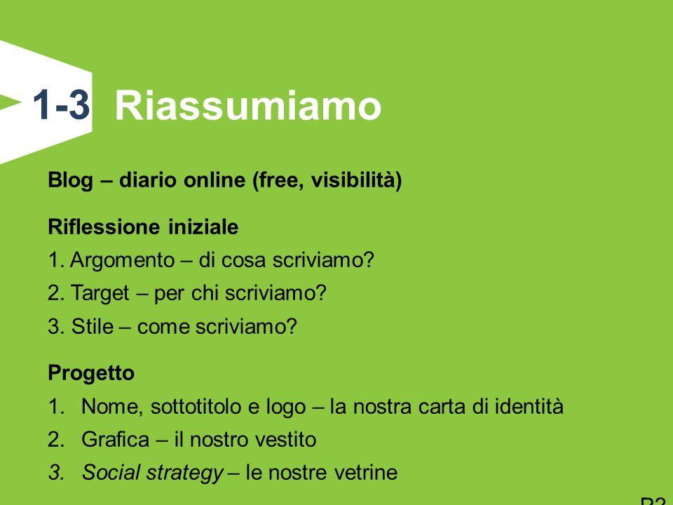 Riassumiamo 1-3 Blog – diario online (free, visibilità) Riflessione iniziale 1. Argomento – di cosa scriviamo? 2. Target – per chi scriviamo? 3. Stile