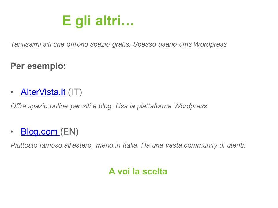 E gli altri… Tantissimi siti che offrono spazio gratis. Spesso usano cms Wordpress Per esempio: AlterVista.it (IT)AlterVista.it Offre spazio online pe