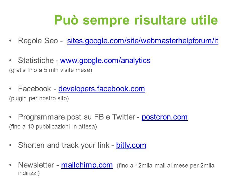 Può sempre risultare utile Regole Seo - sites.google.com/site/webmasterhelpforum/itsites.google.com/site/webmasterhelpforum/it Statistiche - www.googl