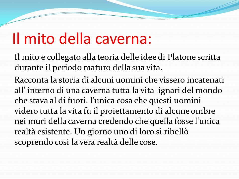Il mito della caverna: Il mito è collegato alla teoria delle idee di Platone scritta durante il periodo maturo della sua vita. Racconta la storia di a