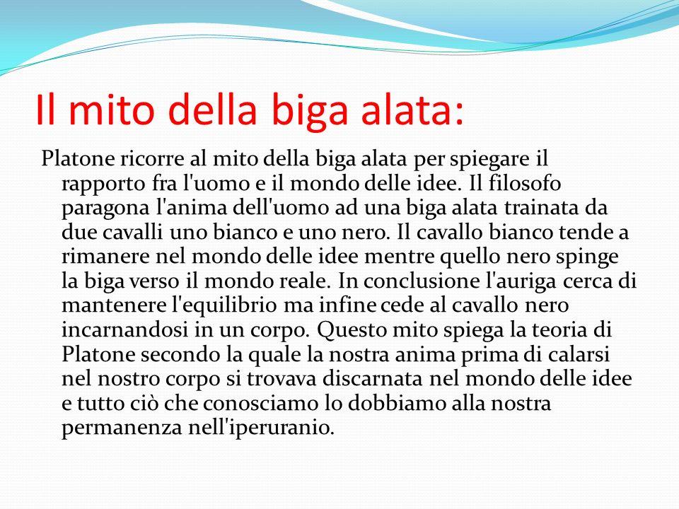 Il mito della biga alata: Platone ricorre al mito della biga alata per spiegare il rapporto fra l'uomo e il mondo delle idee. Il filosofo paragona l'a