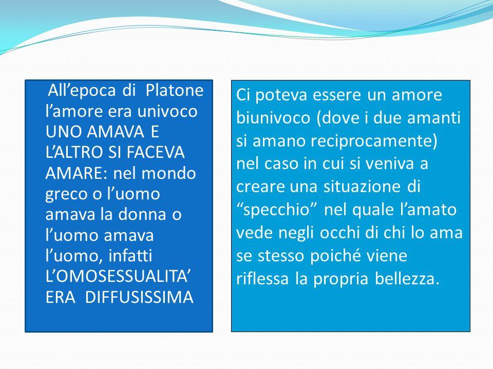 Allepoca di Platone lamore era univoco UNO AMAVA E LALTRO SI FACEVA AMARE: nel mondo greco o luomo amava la donna o luomo amava luomo, infatti LOMOSES