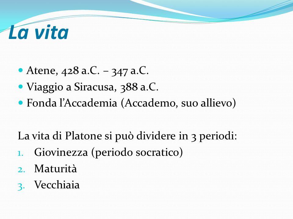 La vita Atene, 428 a.C. – 347 a.C. Viaggio a Siracusa, 388 a.C. Fonda lAccademia (Accademo, suo allievo) La vita di Platone si può dividere in 3 perio