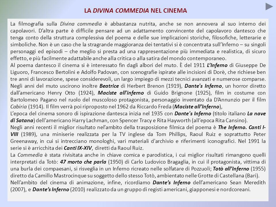 LA DIVINA COMMEDIA NEL CINEMA La filmografia sulla Divina commedia è abbastanza nutrita, anche se non annovera al suo interno dei capolavori. Daltra p