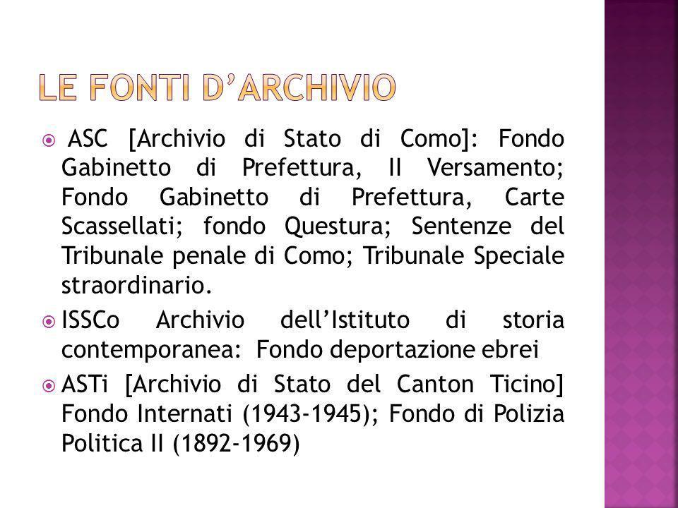 ASC [Archivio di Stato di Como]: Fondo Gabinetto di Prefettura, II Versamento; Fondo Gabinetto di Prefettura, Carte Scassellati; fondo Questura; Sente