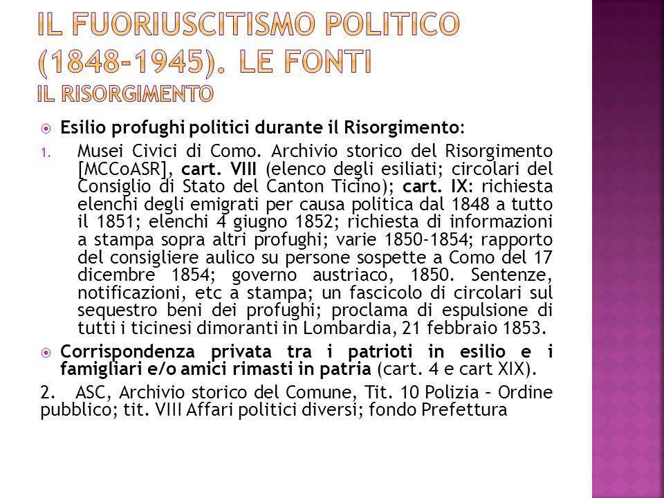 Esilio profughi politici durante il Risorgimento: 1. Musei Civici di Como. Archivio storico del Risorgimento [MCCoASR], cart. VIII (elenco degli esili