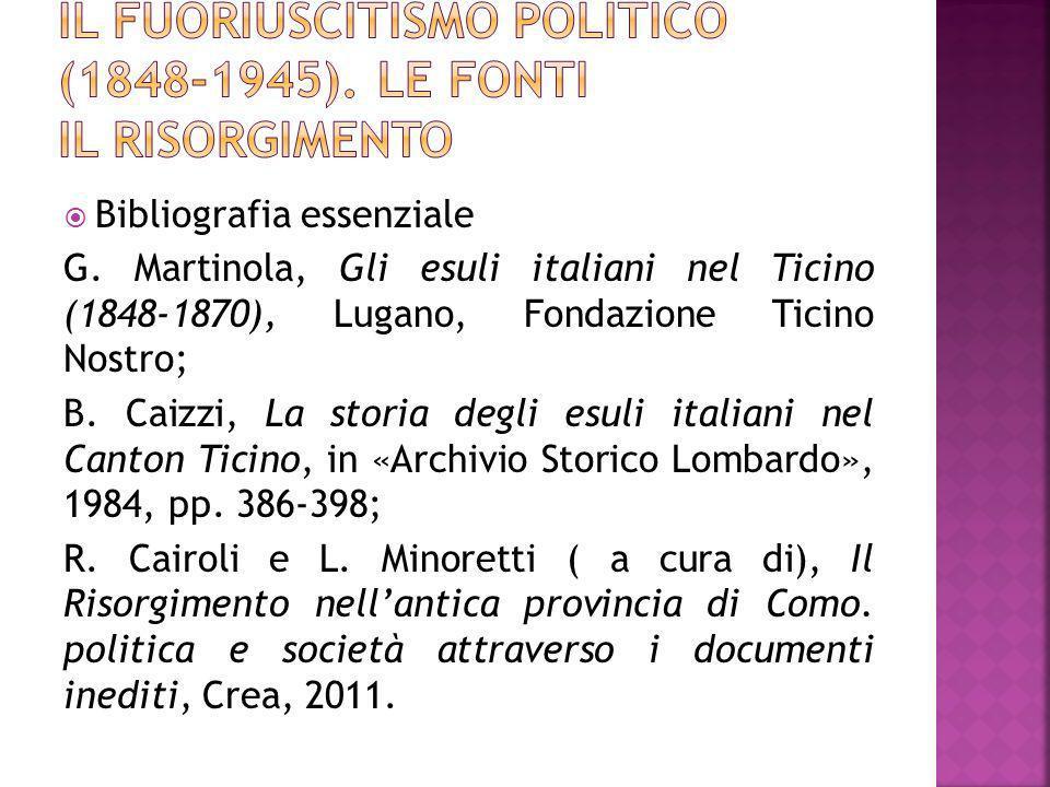 Bibliografia essenziale G. Martinola, Gli esuli italiani nel Ticino (1848-1870), Lugano, Fondazione Ticino Nostro; B. Caizzi, La storia degli esuli it