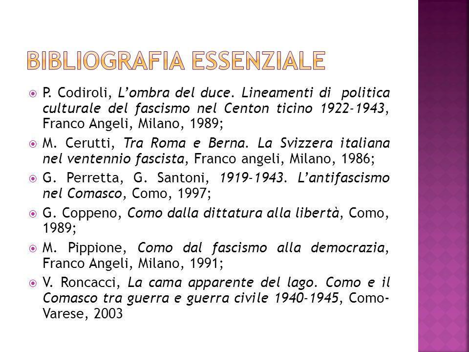 P. Codiroli, Lombra del duce. Lineamenti di politica culturale del fascismo nel Centon ticino 1922-1943, Franco Angeli, Milano, 1989; M. Cerutti, Tra
