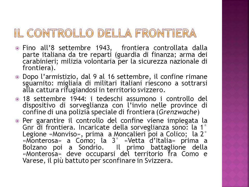 Fino all8 settembre 1943, frontiera controllata dalla parte italiana da tre reparti (guardia di finanza; arma dei carabinieri; milizia volontaria per
