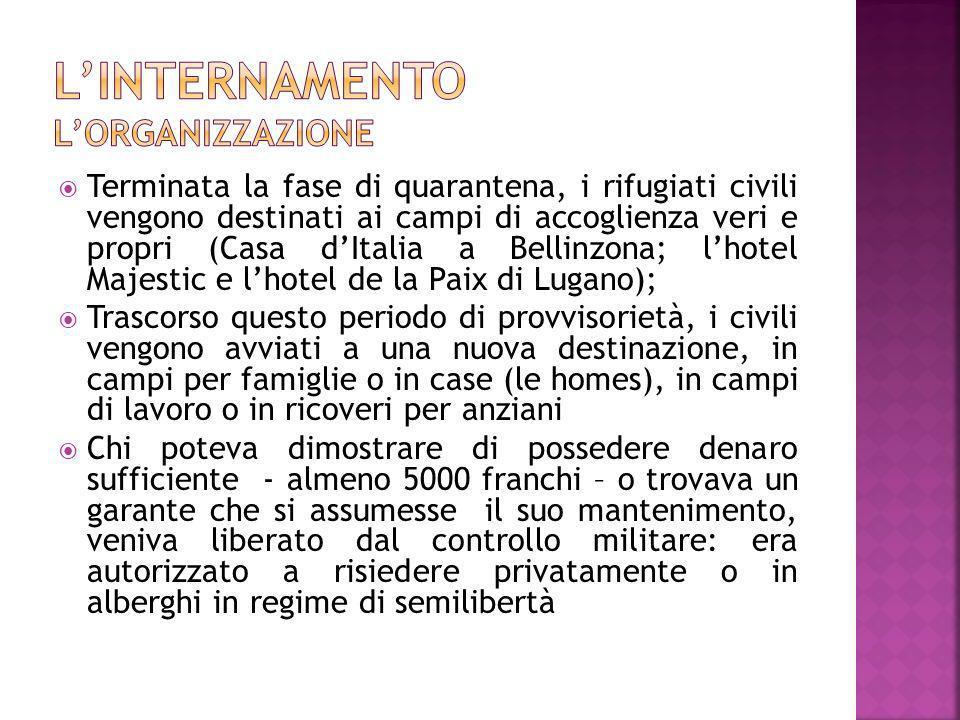 Terminata la fase di quarantena, i rifugiati civili vengono destinati ai campi di accoglienza veri e propri (Casa dItalia a Bellinzona; lhotel Majesti