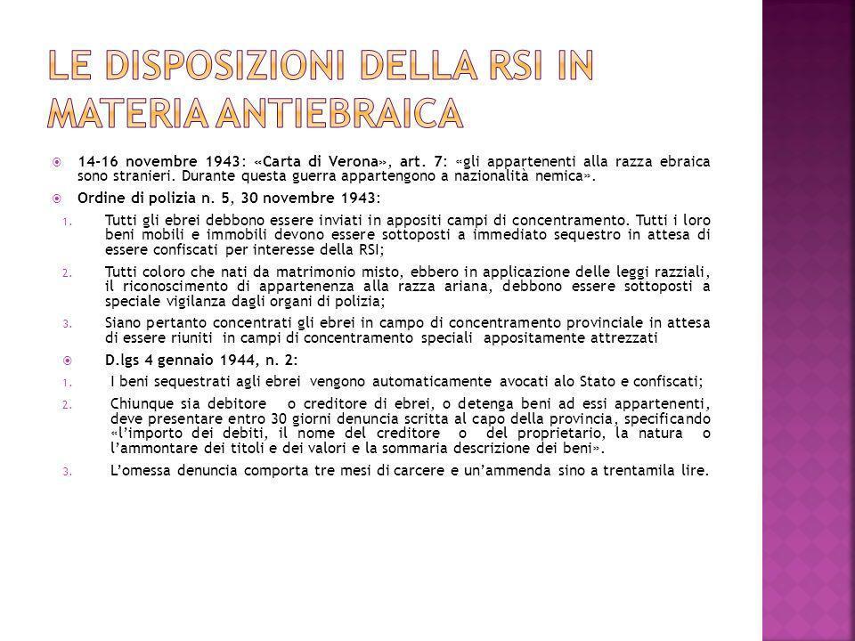 14-16 novembre 1943: «Carta di Verona», art. 7: «gli appartenenti alla razza ebraica sono stranieri. Durante questa guerra appartengono a nazionalità