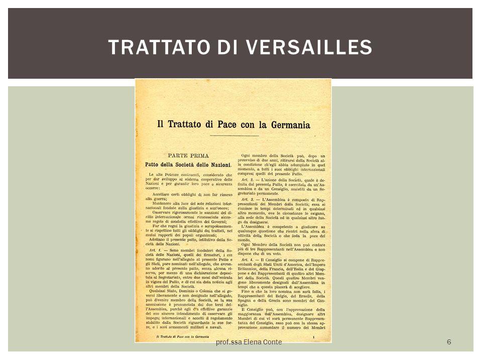 TRATTATO DI VERSAILLES prof.ssa Elena Conte 6