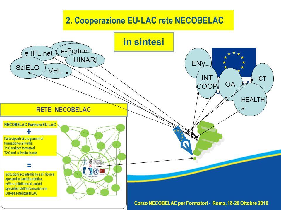 e-IFL.net e-Portug ENV INT COOP OA VHL HINARI SciELO in sintesi Corso NECOBELAC per Formatori - Roma, 18-20 Ottobre 2010 ICT RETENNNN HEALTH RETE NECOBELAC 2.