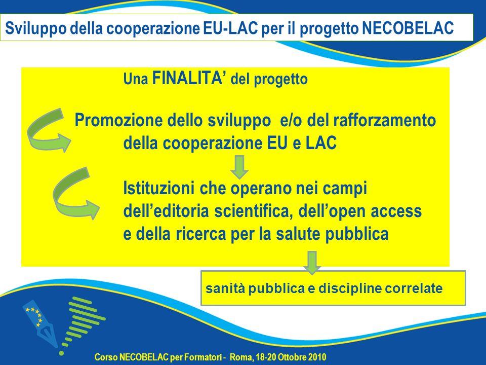 ALLINTERNO DELLA RETE NECOBELAC contatti e collaborazioni tra istituzioni EU e LAC che aderiscono alla comunità NECOBELAC tramite o il questionario NECOBELAC o la partecipazione ai corsi di formazione per formatori (T1) Nel sito web NECOBELAC www.necobelac.euwww.necobelac.eu sezione Contatti e Comunità http://www.necobelac.eu/it/contacts.phphttp://www.necobelac.eu/it/contacts.php sono elencate istituzioni di paesi EU e LAC e le persone che hanno dato il consenso ad essere punto di contatto per la comunità NECOBELAC Corso NECOBELAC per Formatori - Roma, 18-20 Ottobre 2010 2.