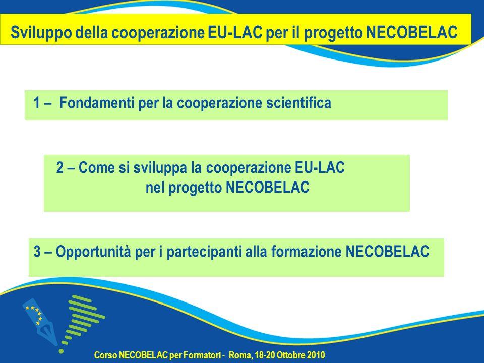 Sviluppo della cooperazione EU-LAC per il progetto NECOBELAC 1 – Fondamenti per la cooperazione scientifica Corso NECOBELAC per Formatori - Roma, 18-20 Ottobre 2010 3 – Opportunità per i partecipanti alla formazione NECOBELAC 2 – Come si sviluppa la cooperazione EU-LAC nel progetto NECOBELAC