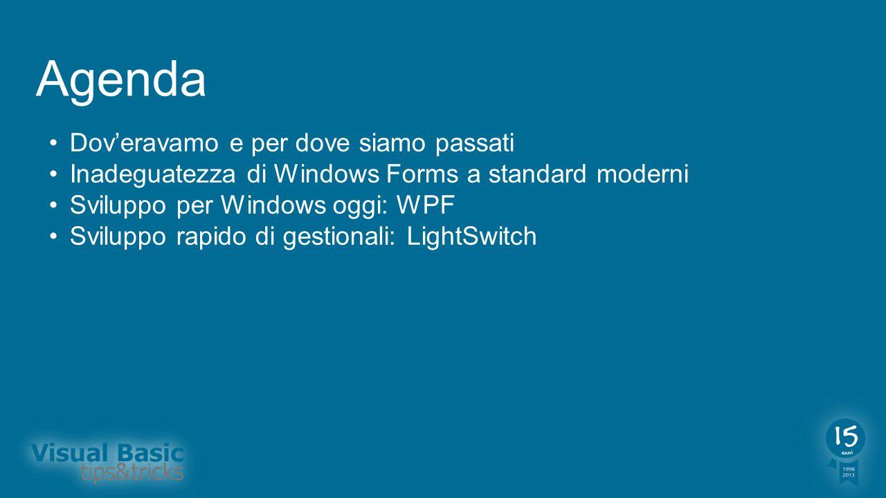 Agenda Doveravamo e per dove siamo passati Inadeguatezza di Windows Forms a standard moderni Sviluppo per Windows oggi: WPF Sviluppo rapido di gestion