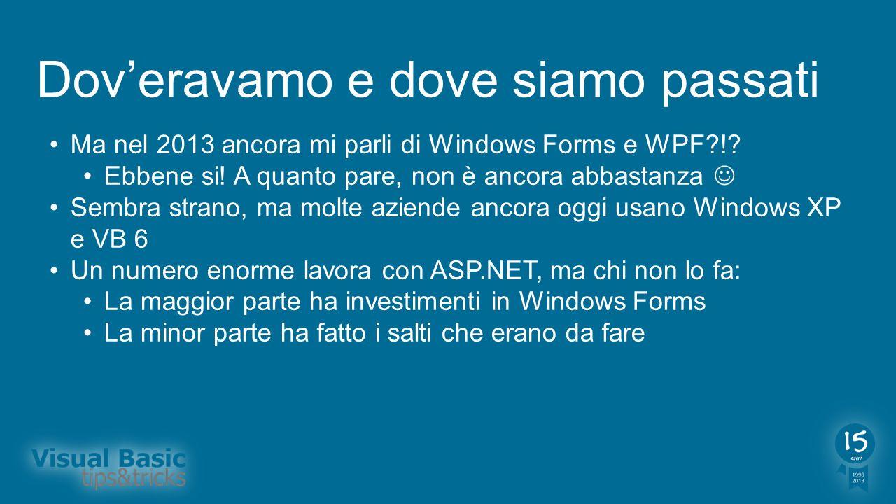 Doveravamo e dove siamo passati Ma nel 2013 ancora mi parli di Windows Forms e WPF?!? Ebbene si! A quanto pare, non è ancora abbastanza Sembra strano,