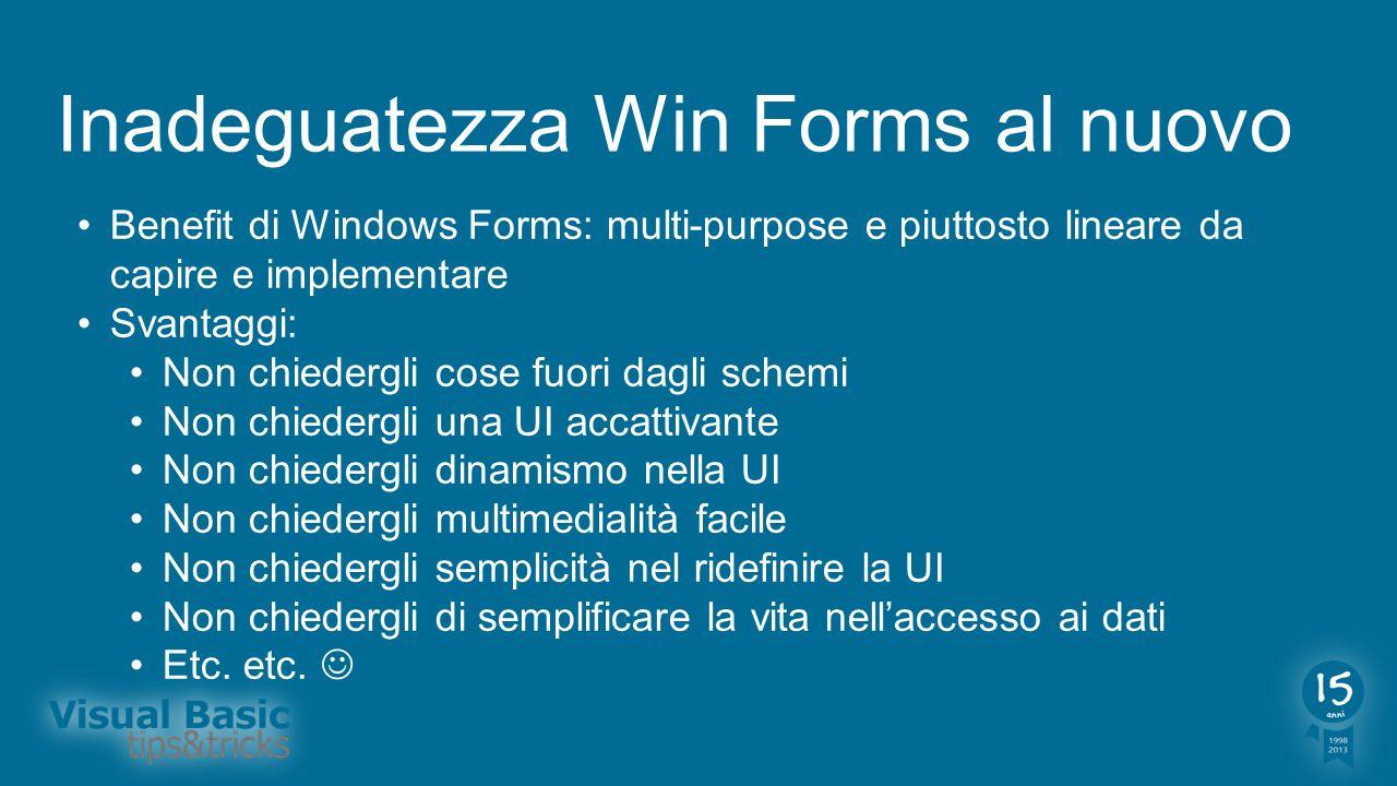 Inadeguatezza Win Forms al nuovo Per chi usa ancora Windows Forms oggi: State usando una tecnologia il cui ultimo aggiornamento risale a.NET 2.0 Microsoft supporta ma ha smesso di investire nel 2005 Controlli Chart introdotti in.NET 4 <> Aggiornare e investire