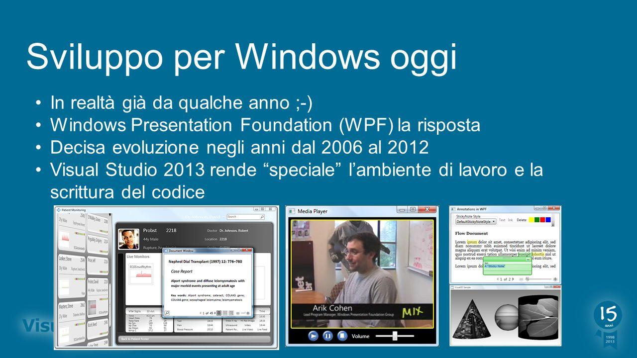 Sviluppo per Windows oggi In realtà già da qualche anno ;-) Windows Presentation Foundation (WPF) la risposta Decisa evoluzione negli anni dal 2006 al