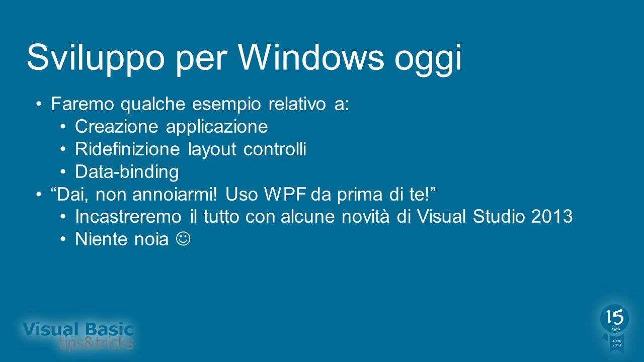 Sviluppo per Windows oggi Faremo qualche esempio relativo a: Creazione applicazione Ridefinizione layout controlli Data-binding Dai, non annoiarmi! Us