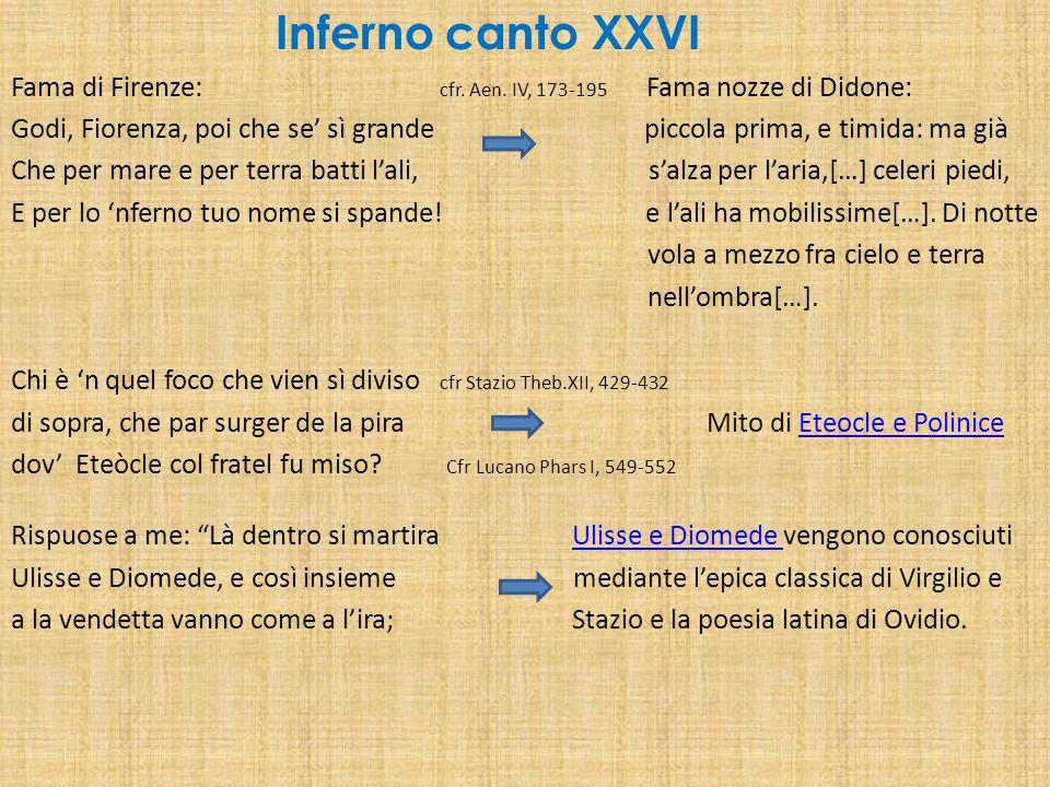 Inferno canto XXVI Fama di Firenze: cfr. Aen. IV, 173-195 Fama nozze di Didone: Godi, Fiorenza, poi che se sì grande piccola prima, e timida: ma già C