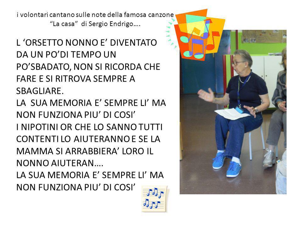 i volontari cantano sulle note della famosa canzone La casa di Sergio Endrigo…. L ORSETTO NONNO E DIVENTATO DA UN PODI TEMPO UN POSBADATO, NON SI RICO