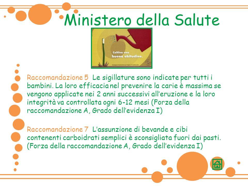 Raccomandazione 5 Le sigillature sono indicate per tutti i bambini.