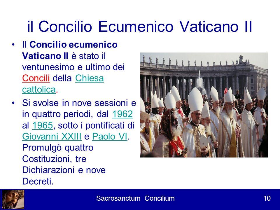 Corso per lettori 1° Intervento L apertura Il Concilio fu dunque aperto ufficialmente l 11 ottobre 1962 da papa Giovanni XXIII all interno della basilica di San Pietro in Vaticano con cerimonia solenne.